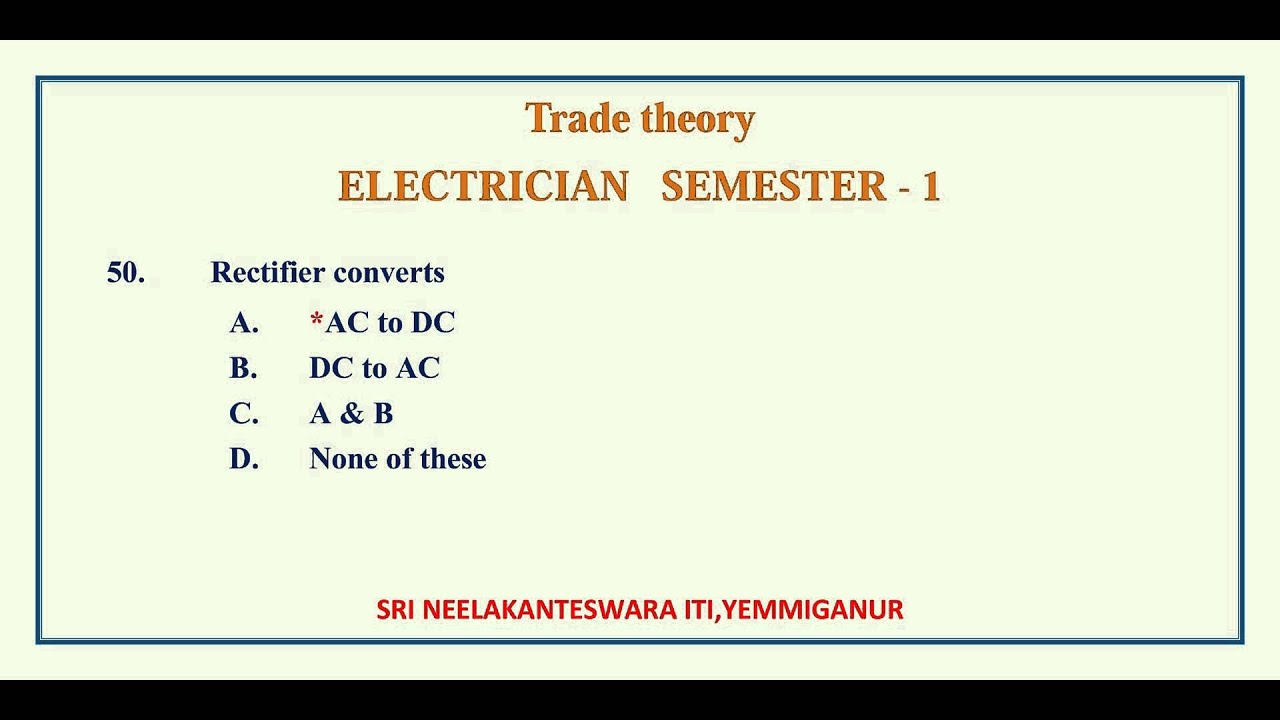 semester 1 trade theory electrician youtube