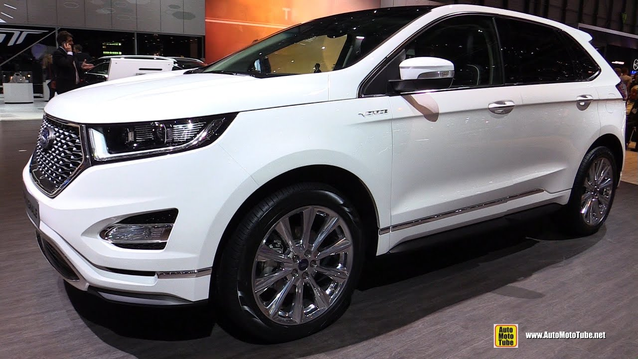 Ford Mondeo 2015 White >> 2016 Ford Edge Vignale - Exterior and Interior Walkaround - 2016 Geneva Motor Show - YouTube