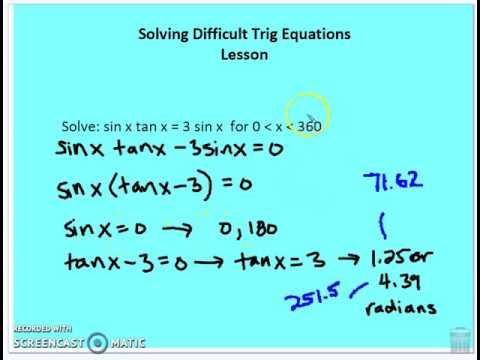 8.5 Solving Difficult Trig Equations - YouTube