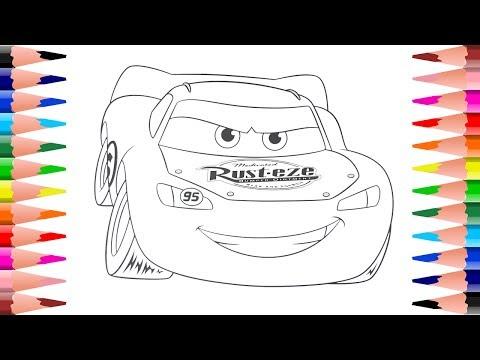 Coloring Lightning McQueen Disney Pixar Cars - Painting Disney Pixar Cars Coloring Pages
