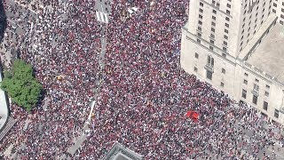 Aerial view: Downtown Toronto jammed with crowds for Raptors victory parade