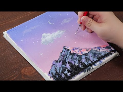Mountain with pink sky / Easy acrylic painting for beginners / PaintingTutorial