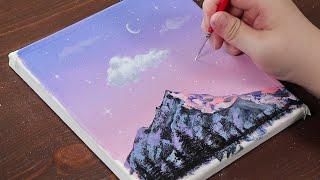 beginners acrylic painting sky mountain