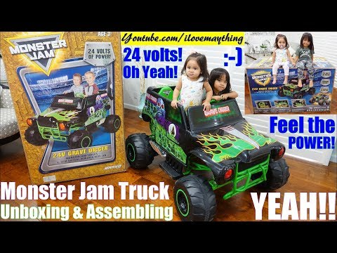 Power Wheels Crash! Monster Jam Truck Crash! 24 Volts Ride-On Truck Grave Digger! Toy Channel