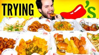 TRYING CHILI'S APPETIZERS! - Fried Cheese, Pizza, Chicken Wings, & MORE Mukbang Taste Test!