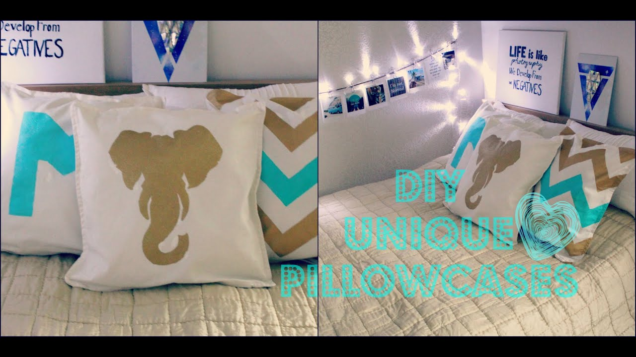 Diy Painted Pillow Cases: DIY Unique Pillow Cases   YouTube,