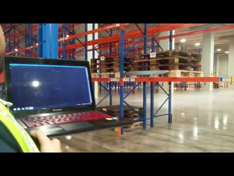 Infinium-Scan drone conducting inventory stock taking at a warehouse in Singapore