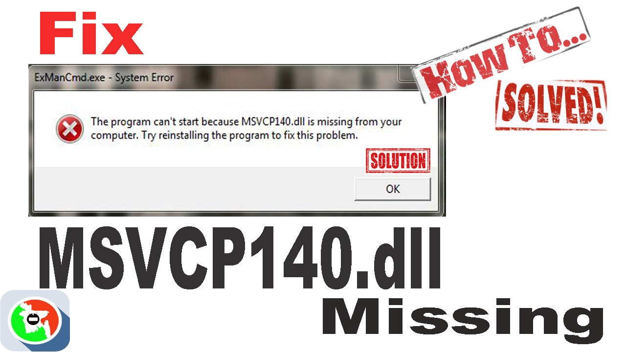 the program cant start msvcp140.dll is missing from your computer
