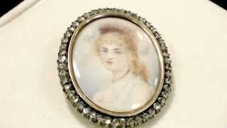 1.82ct Diamond, 14ct Gold Miniature Portrait Brooch / Pendant - Antique 1820 - AC Silver W6682