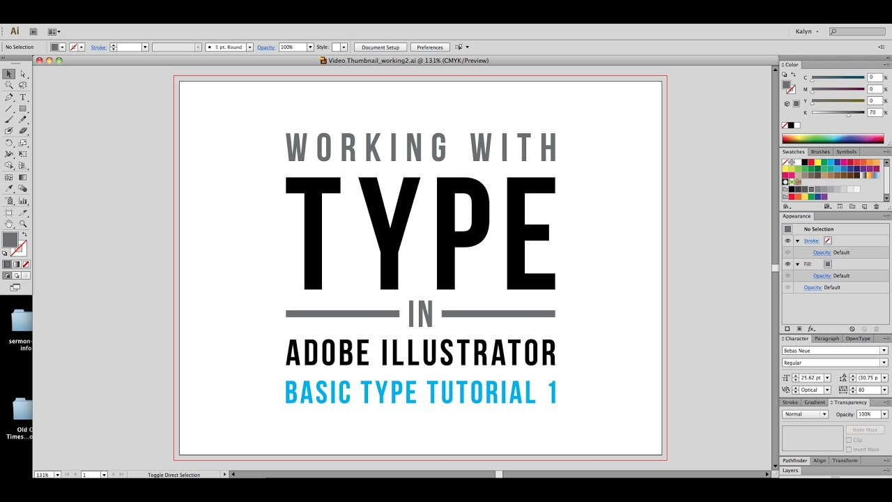 Working with Type in Adobe Illustrator: Basic Type Tutorial 1 ...