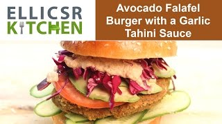 Avocado Falafel Burger With Garlic Tahini Sauce