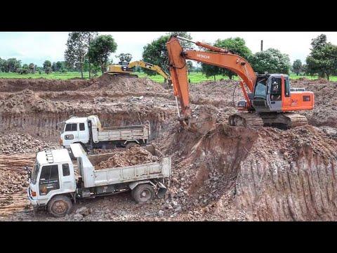 ดู รถแบคโฮ ขุดดิน รถดั้มหกล้อขนดิน เพลินๆ Excavator Thailand truck Thailand