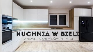 How to make modern white kitchen cabinets with drawers and light - Avangarda Meble