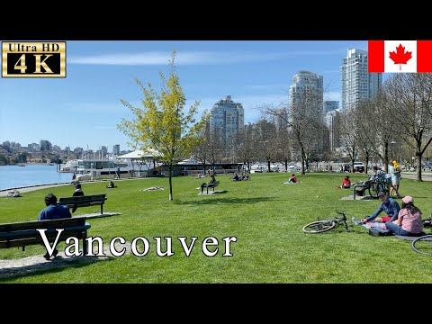 🇨🇦【April 15th】Peaceful Moment At Quarantine Time - Vancouver Spring Walk - 【4K 60fps】