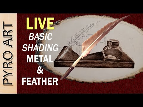 Pyrography: LIVE Wood Burning Feather & Metal Still Life (Beginner series)