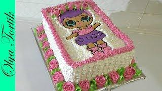 Кремовый Торт КУКЛА ЛОЛ Как украсить торт кремом Розы из крема Olya Tortik