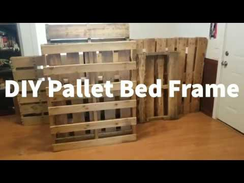 Diy Pallet Bed Frame Queen Size Bed Youtube