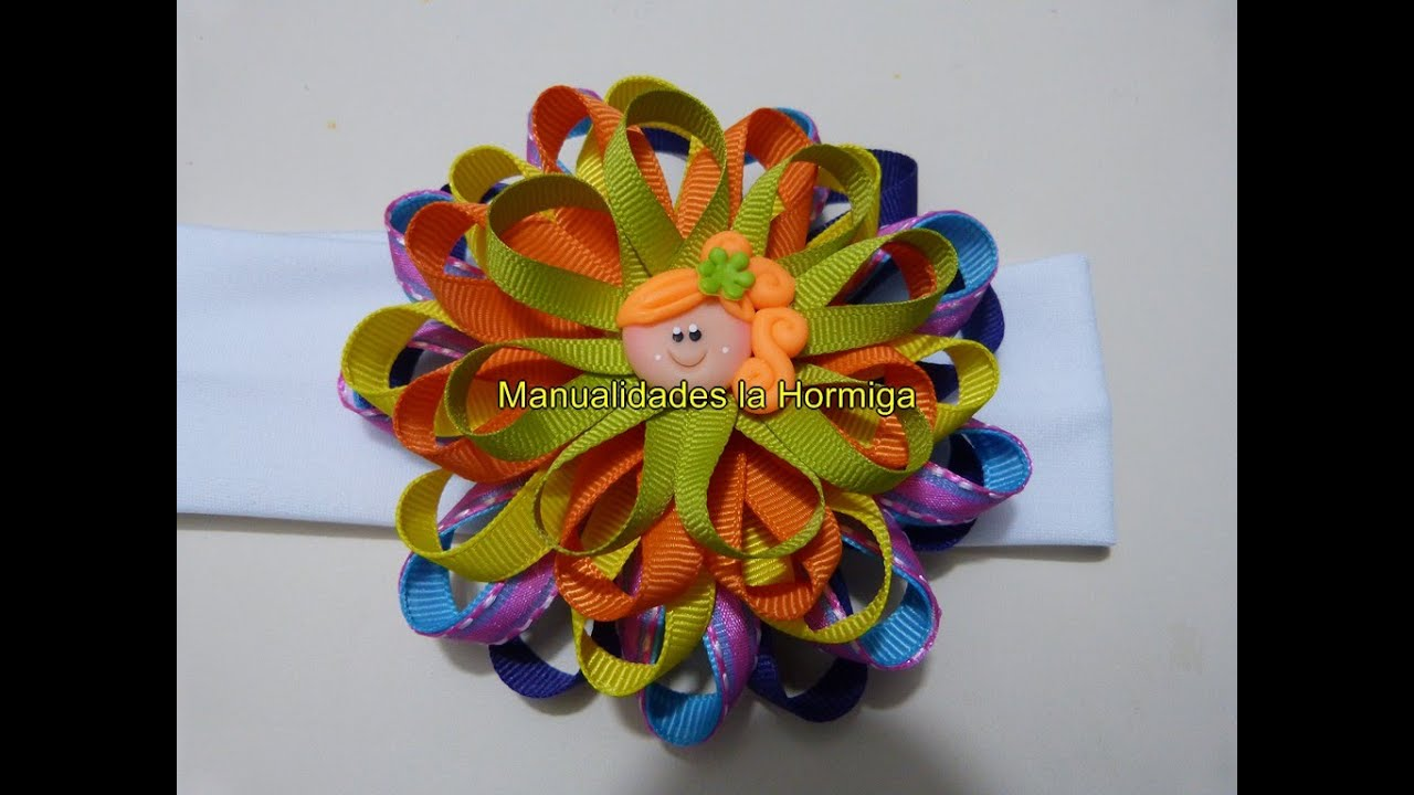 Como hacer lazos mo os flores liston gros tutorial diy - Como hacer monos ...
