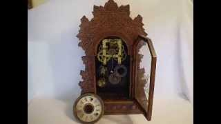 Antique Wm Gilbert Concord Grape Design Oak Wood Shelf Gingerbread Alarm Clock
