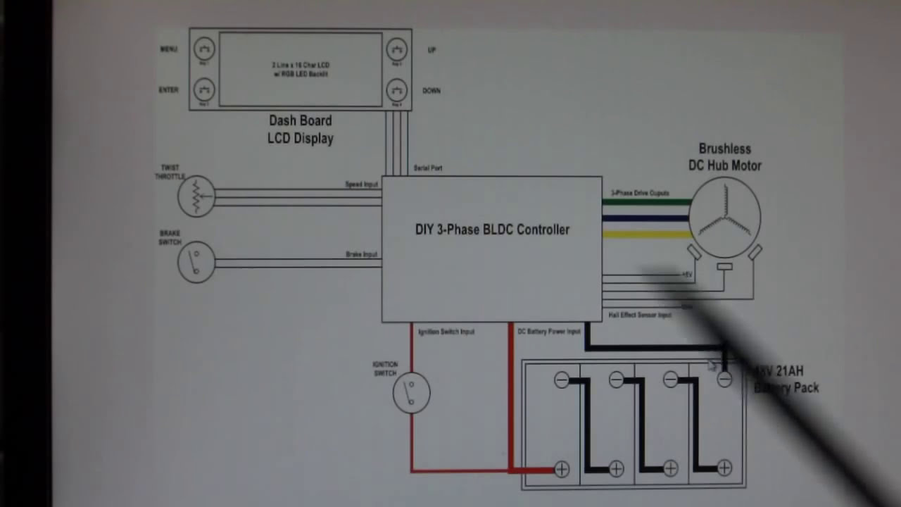 ���� �� ����� home-made bldc hub motor controller project-ev wiring diagram  schematic