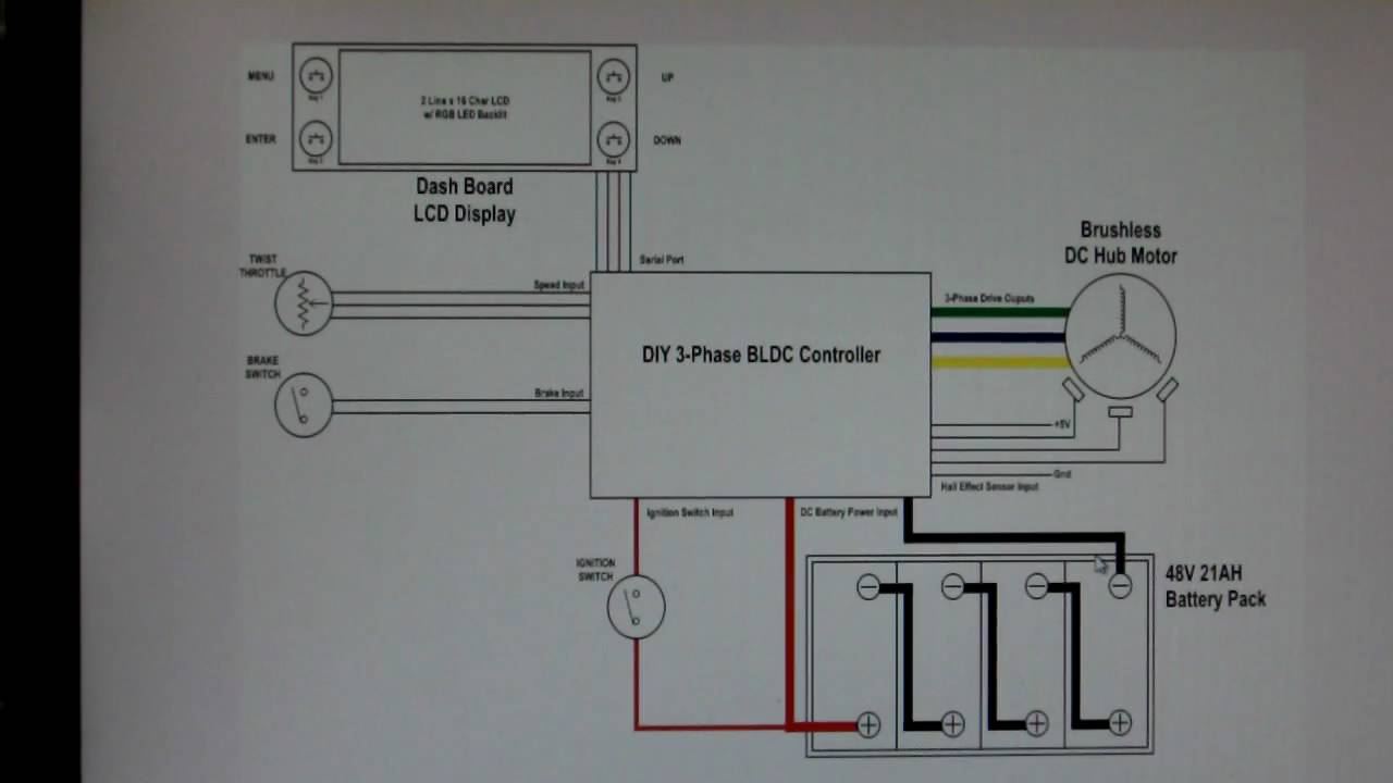 Homemade BLDC Hub Motor Controller ProjectEV Wiring Diagram Schematic  YouTube