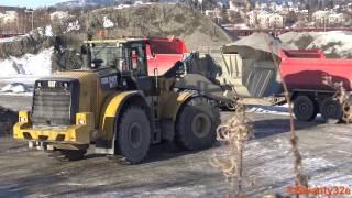 4K| CAT 972M Wheel Loader Loading Trucks