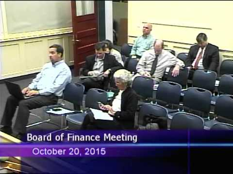 Board of Finance Meeting October 20, 2015