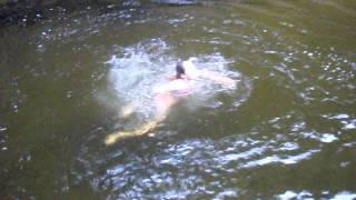 jumping in freezing river