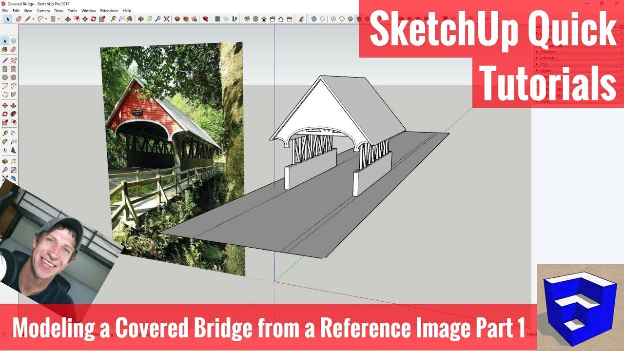 Modeling a Covered Bridge in SketchUp from a Reference Image Part 1 -  SketchUp Modeling Tutorials