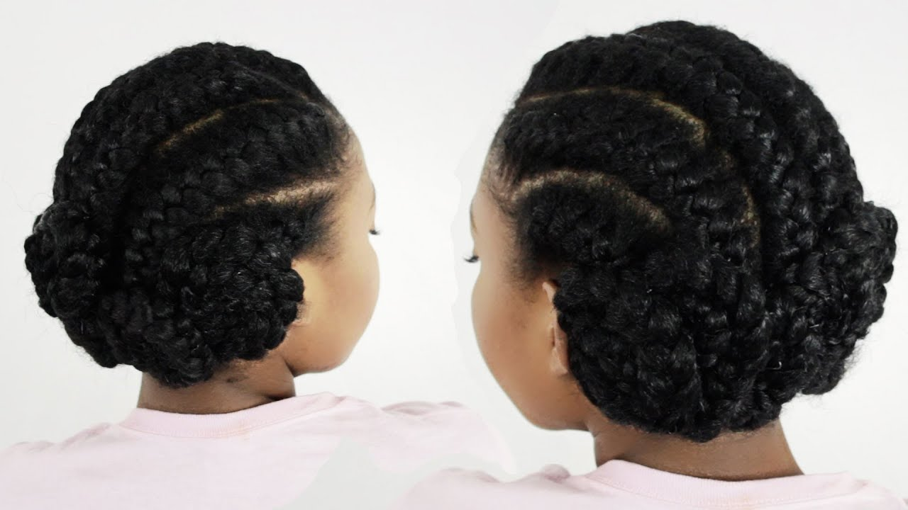 Black Hairstyles With Side Braids: Goddess Braids Pinwheel Bun: Under Braid Hairstyles For