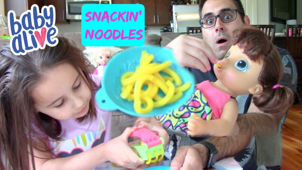 Feeding New Baby Alive Snackin Noodles