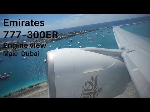 Emirates 777–300ER Full Flight, Male–Dubai, GE90 View (50FPS