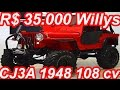 PASTORE R$ 35.000 Willys CJ3A 1948 4x4 MT3 3.6 Ford 108 cv 25,7 mkgf