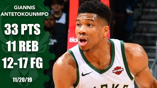Giannis records 14th straight double-double in Bucks' win | 2019-20 NBA Highlights