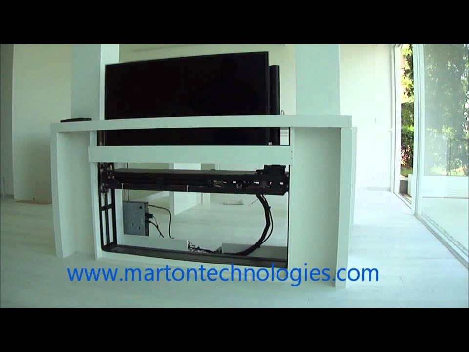 Motorized Pop Up Tv Lift Rotating One Side Lebanon Marton Technologies You