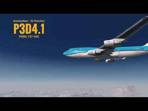 [P3Dv4.1] Amsterdam (EHAM) - St Maarten   (TNCM)   Pmdg 747-400   KLM   VATSIM