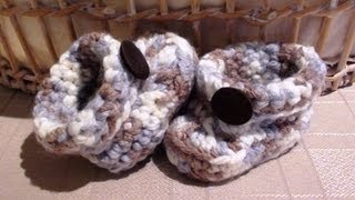 Repeat youtube video Chunky Crochet Boy Baby Booties