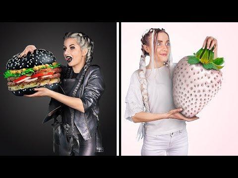 Чёрно-белый челлендж! Покупаем вещи и едим еду одного цвета 24 часа!