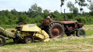 MTZ-5LS pressing hay with old baler Vestjyden (incl starting with pony engine)