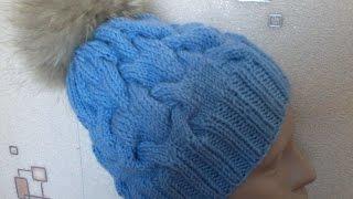 Вязание шапки с объемными  косами на спицах.Knitted hat with braids volume on the spokes.(Мастер-класс по вязанию шапки с объемными косами на 5 (пяти) спицах без шва., 2015-09-21T03:48:30.000Z)