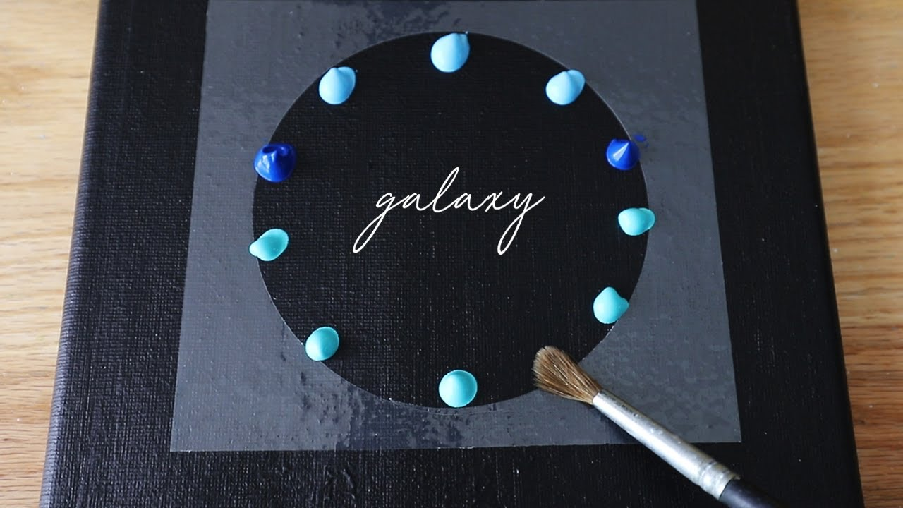 Galaxy Painting Black Canvas Acrylic Painting Tutorial For Beginners 120 Youtube