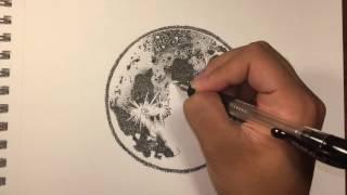 Ink Moon Drawing (Stippling)