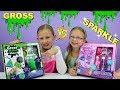 GROSS Slime vs SPARKLE Slime Challenge!!! Slime Kits Tested!!!