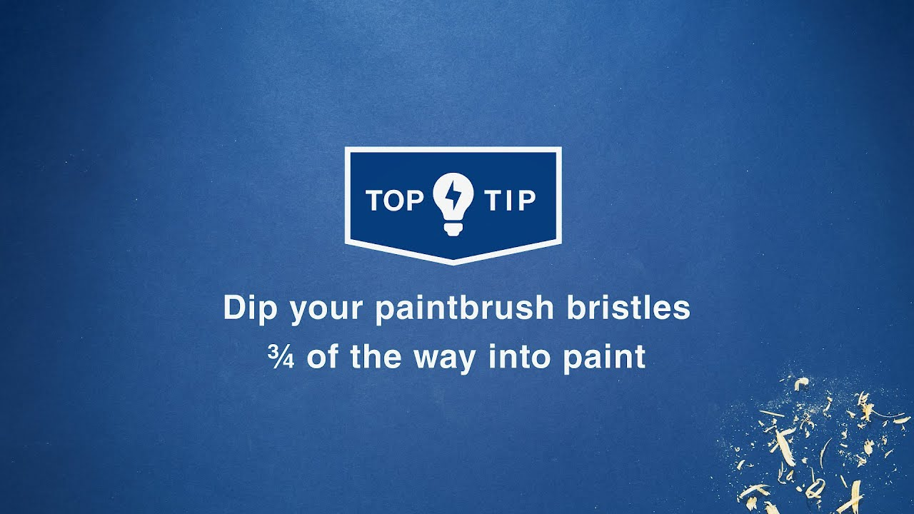 Wickes Top Tips - Dip your paintbrush bristles ¾ of the way into paint
