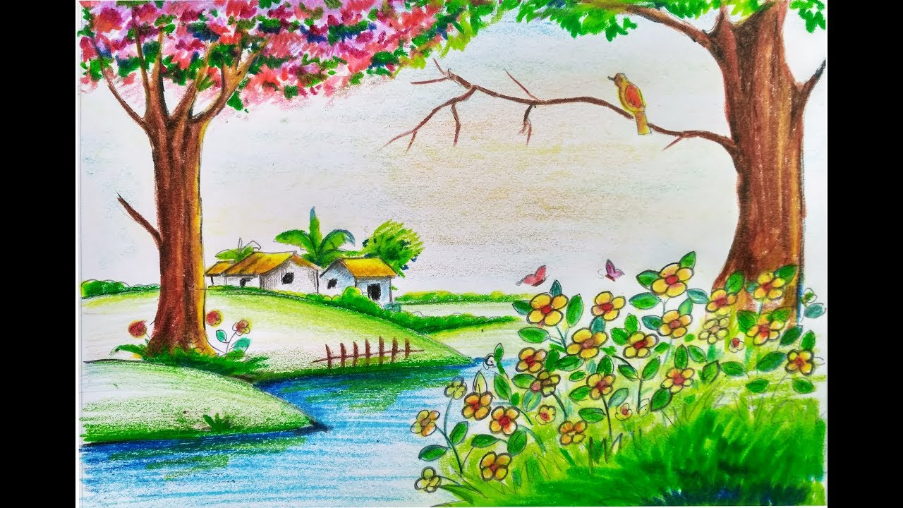 Beautiful Spring Pictures how to draw scenery of beautiful spring season stepstep