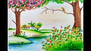 spring drawing season draw drawings scenery easy step nature landscape painting paintings crayon landscapes