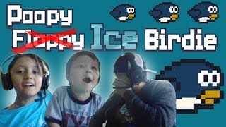 Lets Play: Poopy (Flappy) Ice Birdie w/ Lex, Chase & Dad (iOS Face Came Gameplay)
