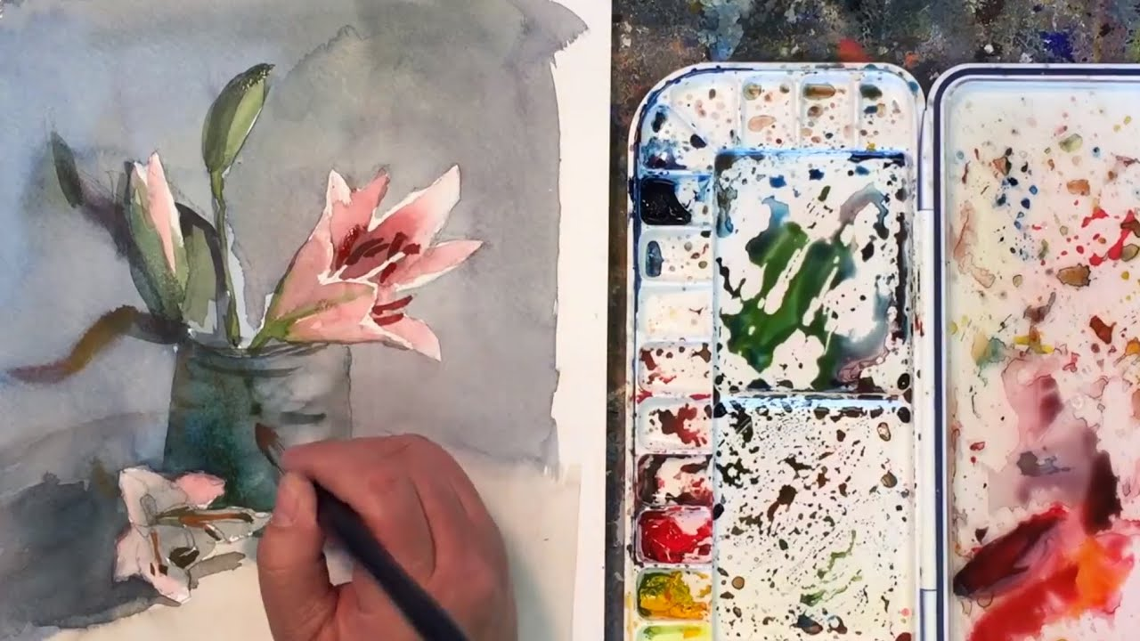How To Paint A Watercolor Painting Of Lily Flowers Youtube