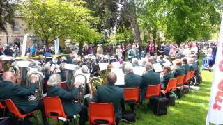 Camping and Caravanning Club's brass band in Bourton-on-the-Water