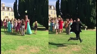 When His Girlfriend Caught The Bride's Bouquet, This Guy's Dramatic Reaction Left Guests Aghast
